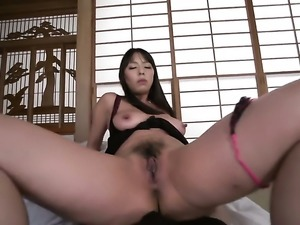 Asian cutie gives tugjob and a boobfuck