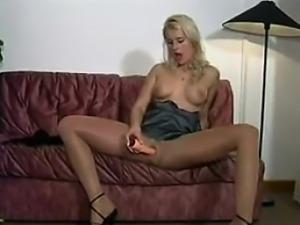 Smoking Blonde Beauty Wearing Pantyhose