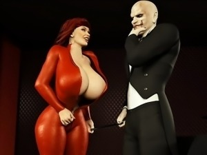 redhead with big tits sucking a magician