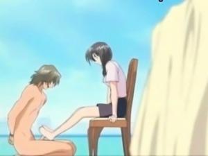 Long femdom footjob scene from Virgin Auction - anime