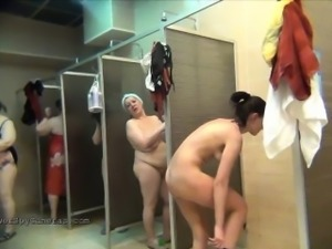 Hidden public shower voyeur with amateur girls
