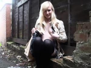 Blonde babe Satine Spark masturbates in a park and public