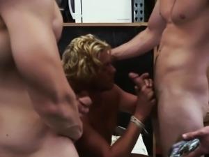 Amateur sucks two dicks
