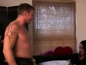 British CFNM girl watches naked guy jerk off