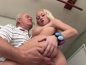 Madison Makes Old Man Dick Hard With Serious Blowjob