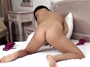 Amazingly hot sweetie stripping and masturbating