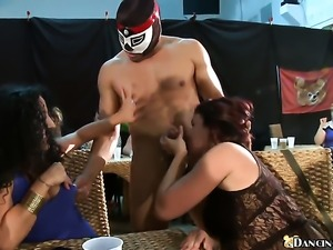 Middle-aged women sucking strippers dick