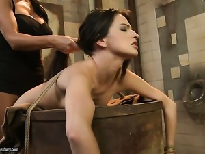 Brunette Ann Marie La Sante with gigantic hooters and lesbian Mandy Bright...