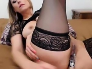 Sexy Romanian Blonde Girlfriend in Stockigns Toys Her Cunt