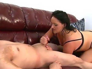It is nice to see a girl with big natural tits jacking off a guy. She then...