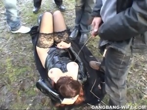 Dogging wife pissed on by 10 guys in a park free