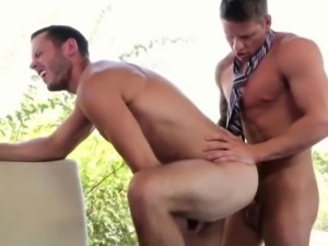 Office hunks bareback anal after interview
