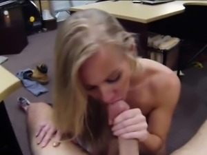 Skinny blonde bimbo fucked from behind by pervert pawn man