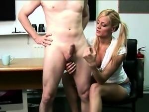 CFNM British blonde giving a handjob to naked amateur