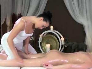 Elegant lesbian massage with two euro models