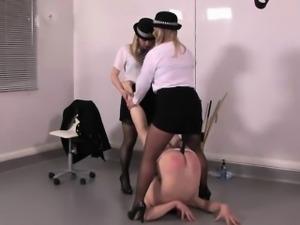 Rough femdoms pee on masturbing sub
