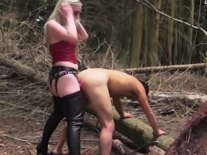 Rough english domme humiliating sub outdoors