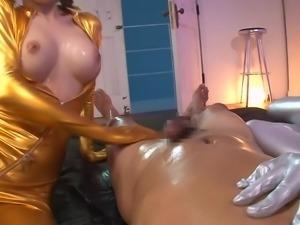 latex babes oil up their man