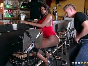 ebony milf sucking cock in bar