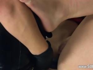 Extreme dildo anal loving with rope BDSM teacher