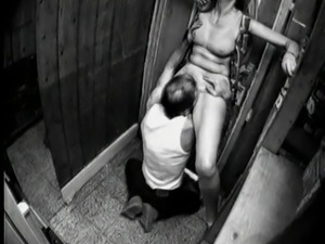 Slut wife cums in store room.
