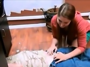 She is at CHEAT-DATE.COM - adorable girl helping old repairm