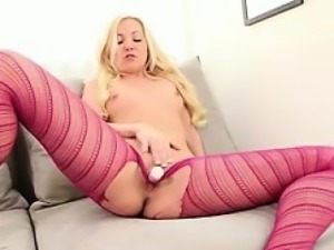 Naughty Aaliyah plays with her sexy new pantyhose.