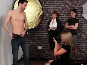 Amateur guy strips for naughty British CFNM girls on camera