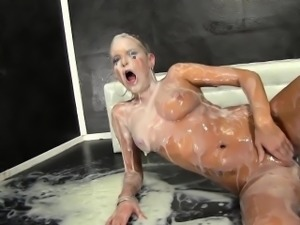 Euroslut soaked in cum