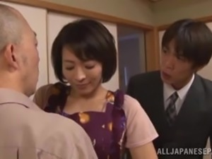 mature nippon woman is eager to please two men
