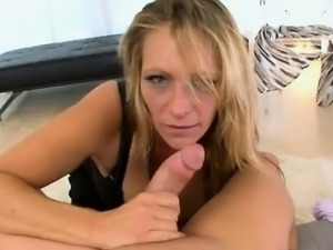 Mature blonde bitch Debi Diamond gobbles a huge dick