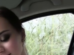 Brunette and petite hitchhiker Lea Guerlin gets hammered