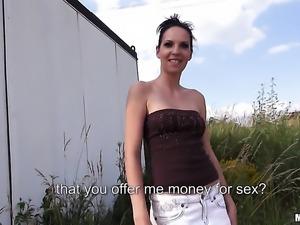 Brunette taking money for public sex