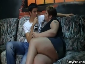 Hot fat girl jumps on his boner free