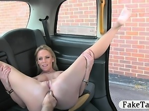 Busty amateur blonde cheating gf anal fucked in the cab