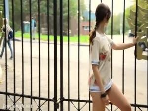 Jeny Smith bottomless flash, no skirt, no panties but big ass free