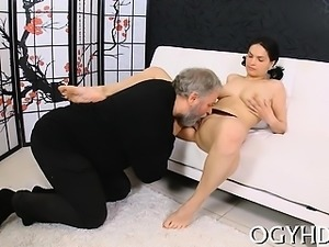 Young hottie sucks old cock and gets smutty cleft licked