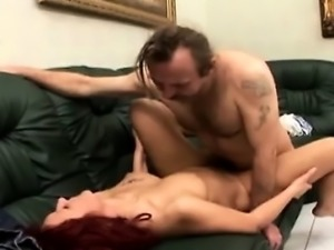One legged grandpa fucks hot mature redhead caregiver