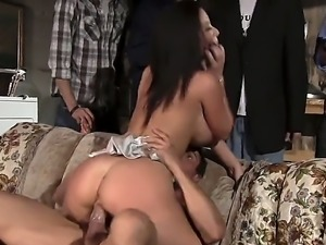 Jayden Jaymes is a milf with a huge ass. She is doing it on the sofa with a...