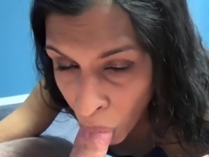 Naomi Shah is on her knees for a POV blowjob