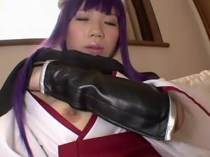 purple haired cosplay babe rubs herself and jacks off cock