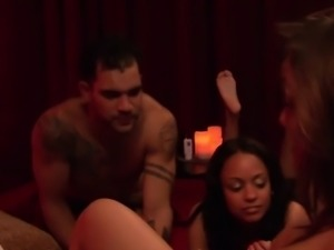 Sporty swinger couple use toys on others couples in orgy