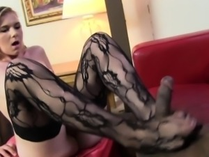 Teen stocking feet cummed