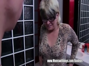 Grey Haired Stepmom Fucks Her Bathroom Jerking Stepson free