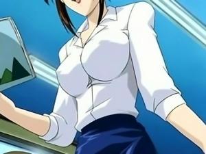 Anime  school teacher in short skirt shows pussy