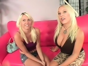 Blonde mom and daughter flashing assets