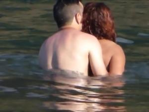 Amateur couple playing at beach - Madeira Island - Seixal