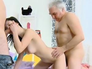 Nasty old dude prefers to have sex with young gorgeous girls
