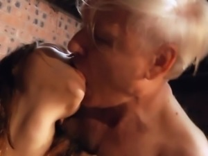 Macy Nata offers a striptease foreplay to grandpa