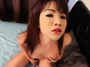 Busty asian shemale tugs before getting anal